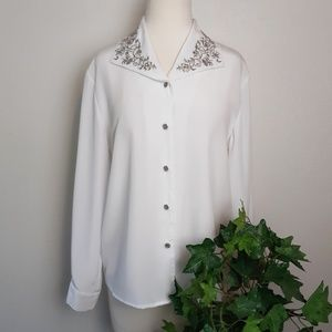 Notations Petite Long Sleeve Embroidered Blouse